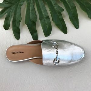 Merona Shiny Silver Mules